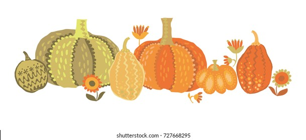 cute simple naive pumpkin set. vector illustration for fall thanksgiving celebration