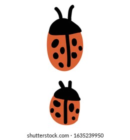 Cute simple naive two ladybird doodle clipart. Hand drawn red spotted insect. Flat color entomology beetle illustration. Isolated eco, bug, animal, spot, dot. Vector EPS 10.