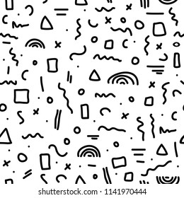Cute simple pattern with different hand painted elements. Vector seamless template background. Monochrome memphis style illustration.