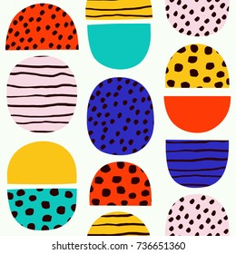 Cute simple pattern in Nordic Folk style. Beautiful seamless texture with simple shapes.
