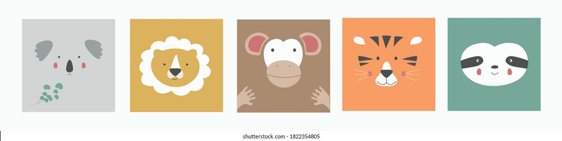 Cute simple portraits of animals, faces of wild animals: Koala, lion, monkey, tiger, sloth. Design of children's clothing. Cartoon character. Vector illustration.