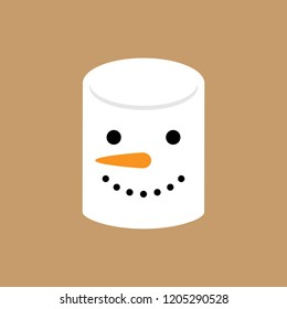 Cute simple snowman marshmallow vector illustration. Snowman face, sweet marshmallow candy icon, isolated on brown background.