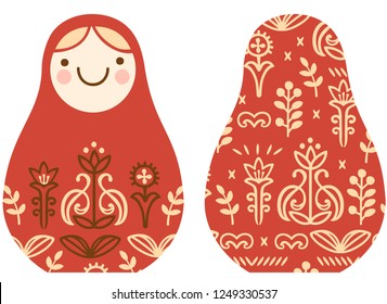 cute simple stylized vector matryoshka with floral ornament Slavic