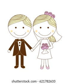 cute simple wedding couple for invitation and others
