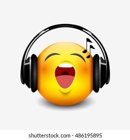 Cute singing emoticon with black headset, emoji, smiley - vector illustration