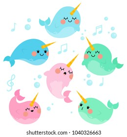 Cute singing Narwhals in White Background