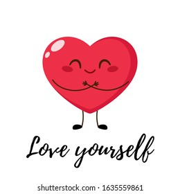Cute single heart hug itself. Love yourself concept. happy Valentine's day greeting card