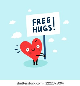 "Cute single heart looking for a love with hand-drawn poster ""Free Hugs!"". Vector  illustration valentine's day card"