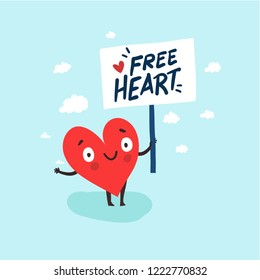 "Cute single heart looking for a love with hand-drawn poster ""Free Heart"". Vector  illustration valentine's day card"