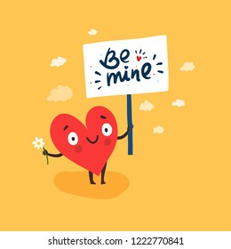 "Cute single heart looking for a love with hand-drawn poster ""Be mine"" and flower. Vector illustration valentine's day card"