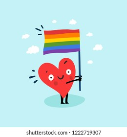 Cute single heart manifest with Rainbow flag for LGBT rights. Vector illustration valentine's day card