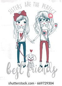 Cute Sisters Best Friends With Dog Hand Drawn Vector Illustration