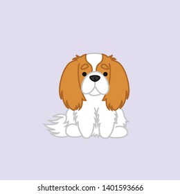 Cute Sitting Blenheim Cavalier King Charles Spaniel Dog Cartoon Vector Illustration for Print, Greeting Card or Kids Shirt Design
