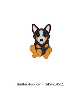 Cute Sitting Blue Heeler Dog Cartoon Vector Illustration