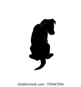 cute sitting puppy from behind silhouette vector isolated on white background