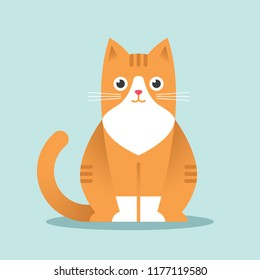 Cute sitting red cat illustration in flat style. Happy ginger kitten.