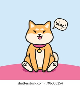 Cute sitting shiba inu dog with tongue outside vector illustration.