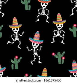 Cute skeleton with colourful hat and cactus in Cinco de mayo party seamless pattern. Holiday cartoon character. -Vector