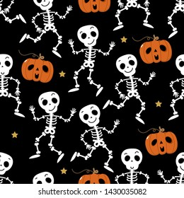 Cute skeleton dance and pumpkin seamless pattern. Halloween party background. Holidays cartoon character vector.
