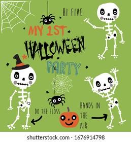 cute skeleton friends kids pattern