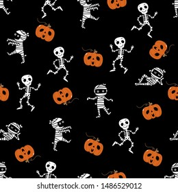 Cute skeleton,  mummy dance and pumpkin seamless pattern. Halloween party background. Holidays cartoon character vector.