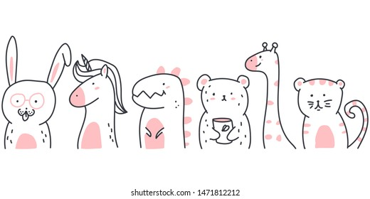 Cute sketch animals vector cartoon illustration isolated on a white background.