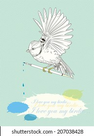 Cute sketch birds at the clouds. To host your text, vector illustration.