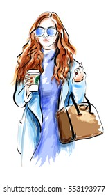 Cute sketch girl with accessories. Fashion lady in sunglasses. Vector illustration.