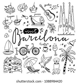 Cute sketch symbols of Barcelona, Catalonia and Spain. Travel icons drawings set in hand drawn style