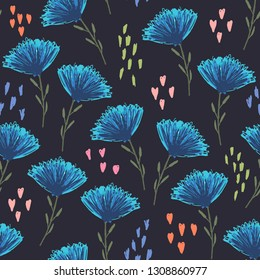 Cute sketchy floral seamless pattern with childish blue flowers, pink hearts and green leaves on dark background. Colorful botanical texture for textile, wrapping paper, surface, wallpaper