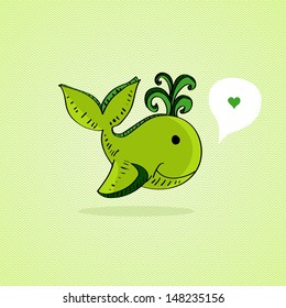 Cute sketchy whale with Love speech bubble. Vector file layered for easy manipulation and custom coloring.