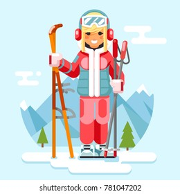 Cute skier girl ski winter sport resort holidays skiing mountain flat design vector illustration
