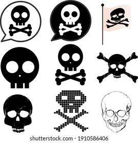 Cute skull and crossbones illustration set
