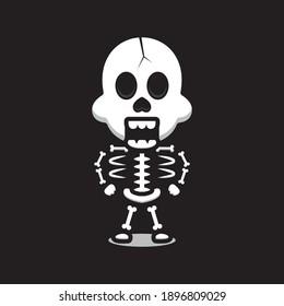 Cute skull mascot character cartoon vector icon illustration. Design isolated on black. Flat cartoon style.