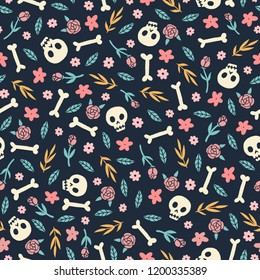 Cute skulls, flowers and plants. Vector seamless pattern