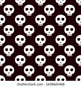 Cute skulls pattern in black and white colors