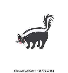Cute skunk. Cheerful skunk. Children's animal character. Vector editable illustration
