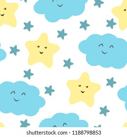 Cute sky pattern. Seamless vector design with smiling, sleeping stars and clouds. Baby illustration.