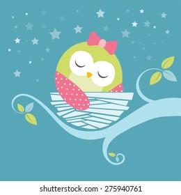 cute sleeping baby owl vector image