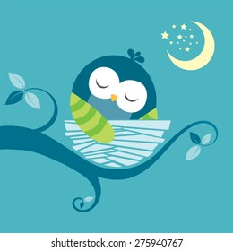 cute sleeping baby owl vector image