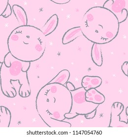 cute sleeping bunnies with snowflakes seamles vector pattern