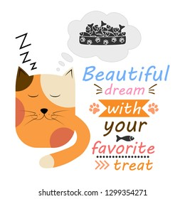 Cute sleeping cat with creative inspiration. Vector design on a white background. Print on t-shirt or sticker. Romantic hand drawing illustration for kids.