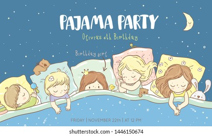 Cute sleeping children/  pajama party/ good night collection