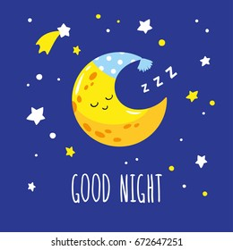 Cute sleeping crescent moon in the night sky. Hand-written inscription good night. Vector illustration is suitable for greeting cards, posters and prints on t-shirts.