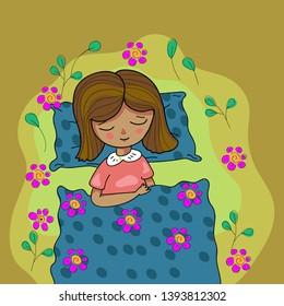 cute sleeping girl vector in children's book illustration style