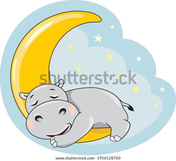 cute-sleeping-hippo-on-moon-600w-1956528