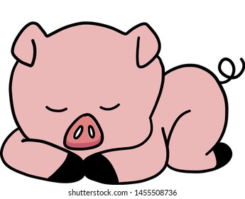 Cute sleeping pig, illustration, vector on white background.