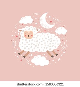 Cute sleeping sheep in the clouds vector illustration. Funny fluffy lamb. Good night sweet dreams. Cartoon pet on a pink background. Pictures for the design of children`s cards, clothes, rooms.