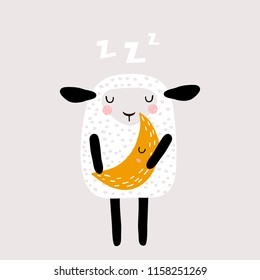 Cute sleeping sheep holding moon. Childish creative print for nursery decoration, card, poster, apparel. Vector illustration