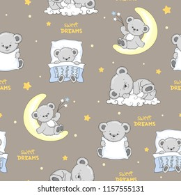 Cute sleeping Teddy Bears seamless pattern.